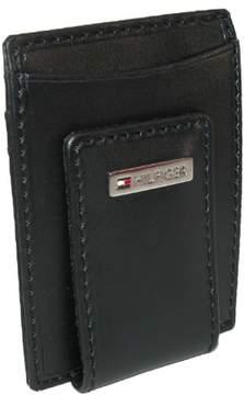 Tommy Hilfiger Men's Leather Fordham Card Case Wallet with Money Clip, Black
