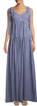 Caroline Constas Elle Gingham Tiered Maxi Dress