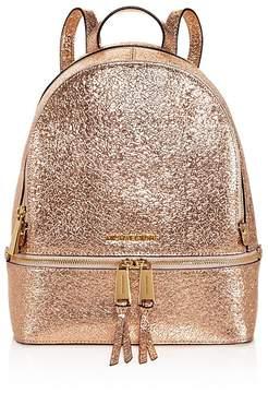 MICHAEL Michael Kors Rhea Zip Metallic Medium Leather Backpack - 100% Exclusive - ROSE GOLD/GOLD - STYLE