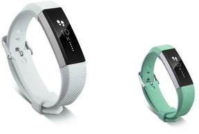 Fitbit Alta HR and Alta Replacement Bands 2 PCS BUNDLE SET, by Zodaca Soft Rubber Adjustable Wristbands with Secure Metal Buckle Watch Band Strap For Alta HR / Alta - White + Mint Green