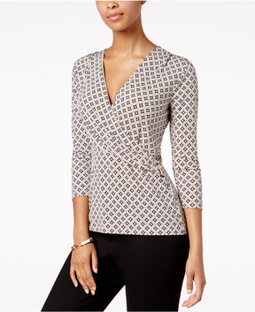 Charter Club Embellished Surplice Top, Created for Macy's