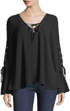 Band of Gypsies Lace-Up Bell-Sleeve Blouse