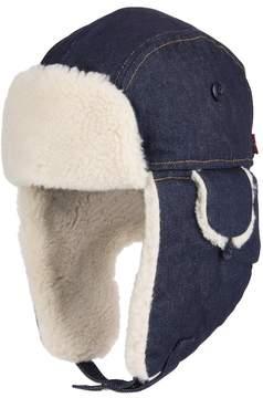 Levi's Men's Sherpa-Lined Wool-Blend Washed Denim Trapper Hat