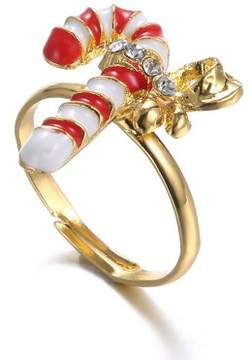 Alpha A A Christmas Gold Tone Candy Cane Adjustable Ring