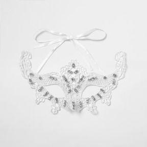 River Island Womens White lace rhinestone encrusted eye mask