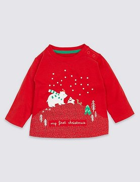 Marks and Spencer Pure Cotton My First Christmas T-Shirt