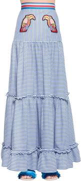 Stella Jean Toucans Striped Cotton Maxi Skirt