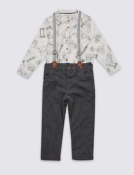 Marks and Spencer 2 Piece PaddingtonTM Shirt & Trousers Outfit (3 Months - 6 Years)