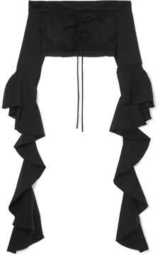 Ellery High Noon Off-the-shoulder Ruffled Jersey Top - Black