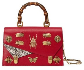 Gucci Small Linea P Painted Insects Leather Top Handle Satchel - Red - RED - STYLE