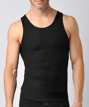 Naked Black Ribbed Pima Cotton Fitted Tank - Men's Regular