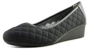 London Fog Chester Women Open Toe Canvas Black Wedge Heel.