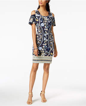 JM Collection Petite Printed Cold-Shoulder Dress, Created for Macy's