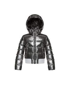 Moncler Verglas Metallic Quilted Coat, Size 8-14