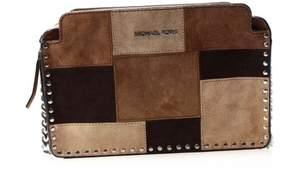 Michael Kors Brown Suede Patchwork Astor Messenger Bag Purse - BROWNS - STYLE
