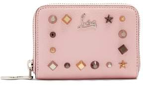 Christian Louboutin Panettone Embellished Zip Around Leather Wallet - Womens - Pink Multi