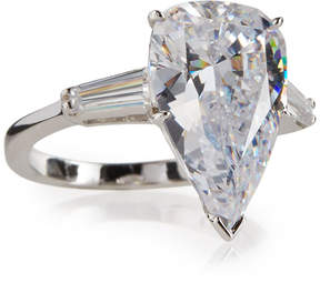 FANTASIA Pear-Cut Crystal Ring w/ Tapered Baguettes