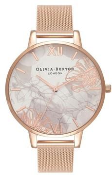 Olivia Burton Women's Oliva Burton Abstract Florals Mesh Bracelet Watch, 38Mm