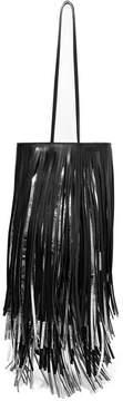 Calvin Klein Fringed Two-tone Leather Bucket Bag - Black