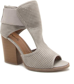 Qupid Light Gray Perforated Barnes Sandal - Women