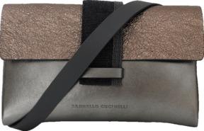 BRUNELLO CUCINELLI Mini Metallic Flap Crossbody Handbag