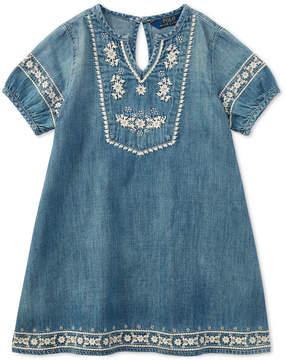 Polo Ralph Lauren Embroidered Cotton Denim Dress, Little Girls
