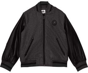 Karl Lagerfeld Grey and Black Contrast Sleeve Bomber Jacket