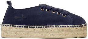 Manebi Blue Suede Hamptons Lace-Up Espadrilles