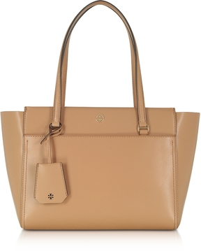 Tory Burch Parker Cardamom Leather Small Tote Bag - BROWN - STYLE