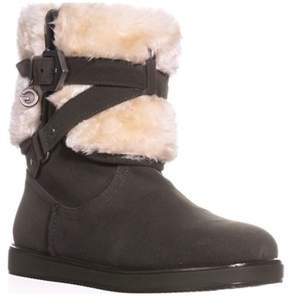 GUESS G By Alixa Fuzzy Lined Pull On Short Winter Boots, Dark Green.