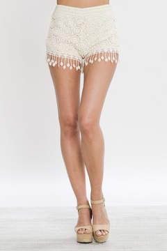 Flying Tomato Cream Lace Shorts