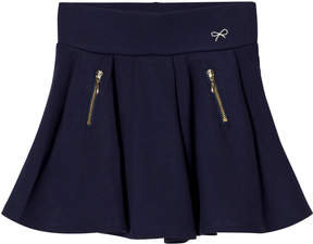 Lili Gaufrette Navy Jersey Pleat Skirt with Zip Pockets