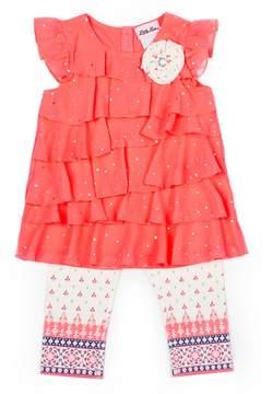 Little Lass Girls 4-6x Sequin Top & Print Capris Set