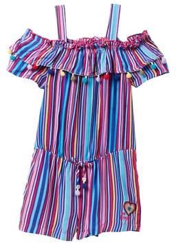 Betsey Johnson Multi Stripe Romper with Pompom Trim (Little Girls)
