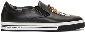 Dolce & Gabbana Black King Designers Slip-On Sneakers