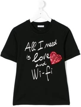Dolce & Gabbana slogan heart embellished T-shirt