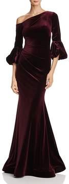 Aqua One-Shoulder Velvet Gown - 100% Exclusive