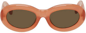 Dries Van Noten Orange Linda Farrow Edition Oval Sunglasses
