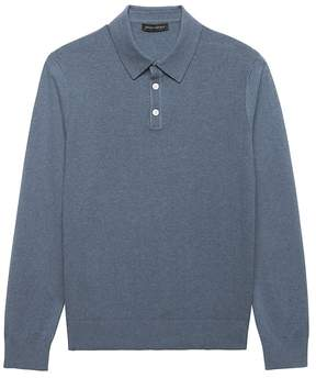 Banana Republic Premium Cotton Cashmere Textured Sweater Polo
