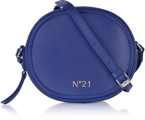 N°21 Bluette Leather Tambourine Crossbody Bag w/Metallic Embossed Logo
