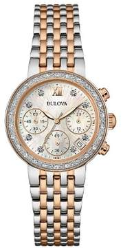 Bulova Ladies Diamond Studded Chronograph Watch with a Sapphire Crystal