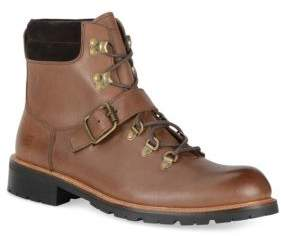 Andrew Marc Midiwood Leather Lace-Up Buckle Boots