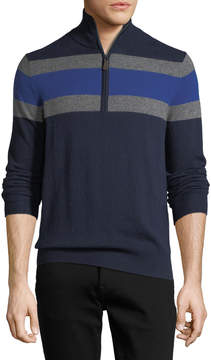 Neiman Marcus Cashmere Zip-Chest Colorblock Sweater