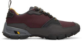 Prada Burgundy and Grey Technical Sneakers