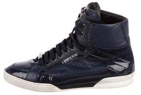 Versace Patent Leather High-Top Sneakers