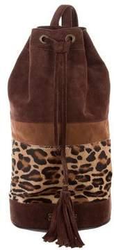 Alberta Ferretti Suede Ponyhair-Accented Backpack