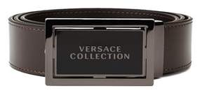 Versace Men's Stainless Steel Buckle Leather Belt Brown.