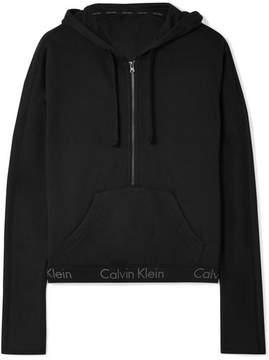 Calvin Klein Underwear Body Cotton-blend Jersey Hooded Top - Black