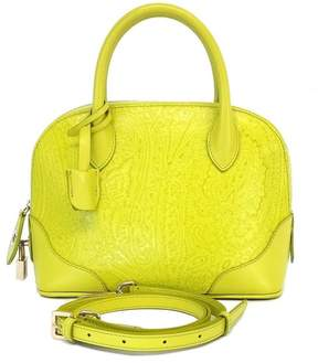 Etro Lime Green Paisley Print Leather Bugatti Bag