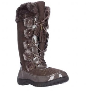 Sporto Millie Faux Fur Trim Winter Boots, Stone.